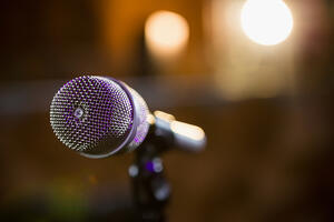 Close-up of microphone in bar